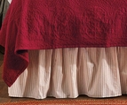 Brighton Red Ticking Stripe Bedskirt Dust Ruffle