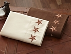 Brown or Cream Texas Star Embroidered Sheet Set