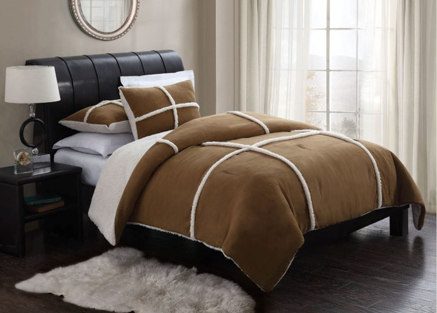 Brown Sherpa Fleece Microsuede Comforter Set