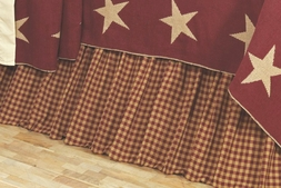 Burgundy & Khaki Check Bedskirt