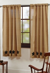 Burlap Natural Black Stars Panel Drapes (63x36)