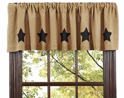 Burlap Natural Black Stars Valance