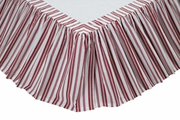Carolina Red & White Stripe Bedskirt Ruffle