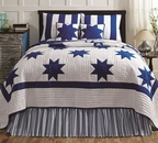 Chesapeake Blue Country Star Patch Quilt