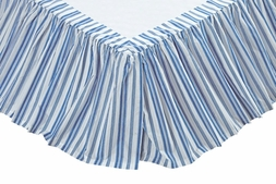 Chesapeake Blue & White Stripe Bedskirt Ruffle