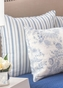 Clementina Blue Ticking Stripe Euro Sham