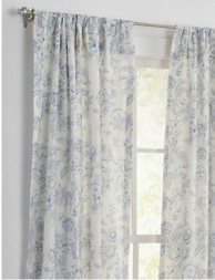 Clementina Dusk Blue Toile Drapery Panel