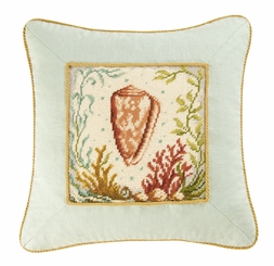 Cone Shell Needlepoint Pillow