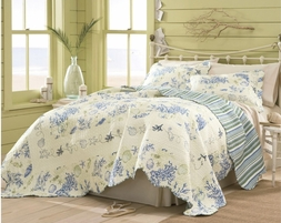 Coral Blue Shells Beach Quilt Set