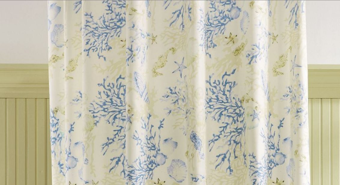 coral and blue shower curtain. Coral Blue Shells Striped Shower Curtain