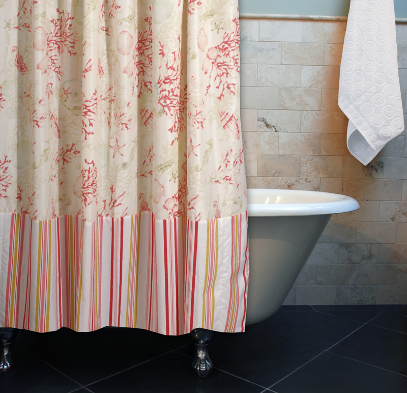 Coral Red Shells Striped Shower Curtain Tap To Expand