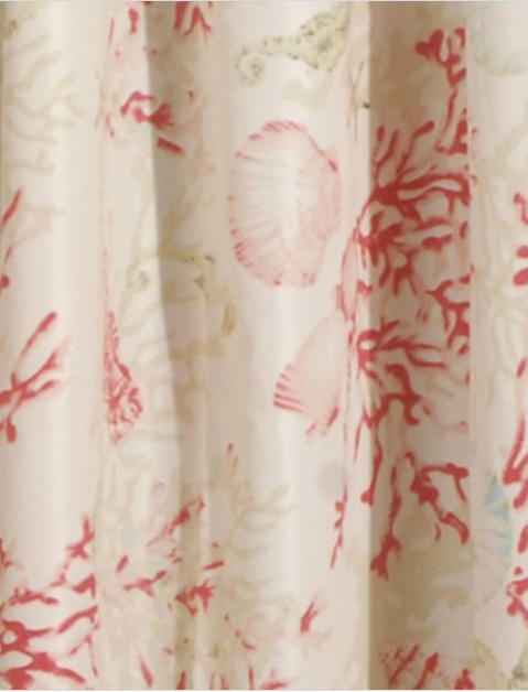 Coral Red Shells Striped Shower Curtain