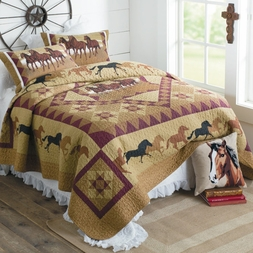 Horse Country Cowboy Quilt Set