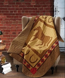 Country Western Horse Quilted Throw