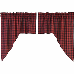 Cumberland Red Black Buffalo Plaid Window Sswag Valance