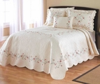 Rose Embroidered Ivory Bedspread