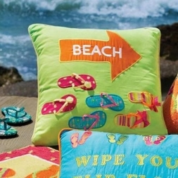 Flip Flops Beach Arrow Pillow