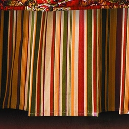 Florentine Red Green Stripe Bedskirt