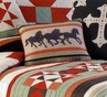 Galloping Horses Hooked Wool Pillow