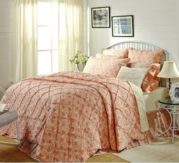 Genevieve Cottage Pink Cream Floral Ruffle Quilt