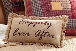 Happily Ever After Wedding Burlap Pillow