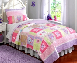 Girls Happy Owl Pink Quilt Set