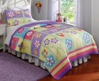 Helena Flower Purple Teen Quilt Set