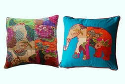 Jewel Quilted & Elephant Pillows (set)