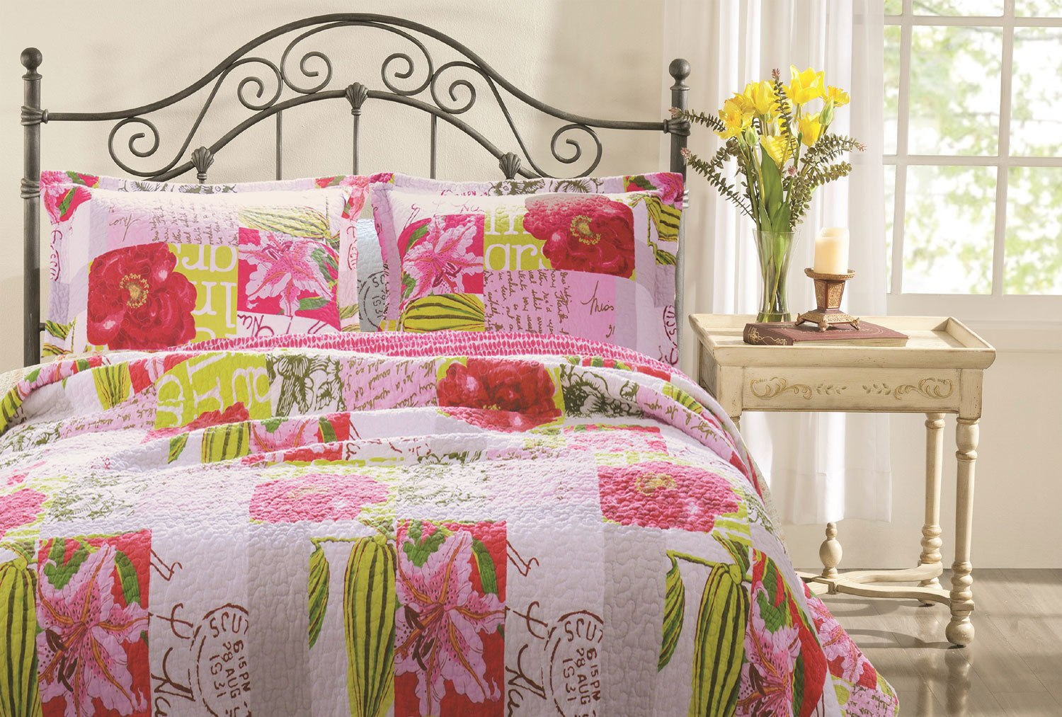 full amazon rose kitchen dp l chic quilt com pink quilts queen shabby patchwork set home vintage