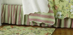 Magnolia Green Burgundy Stripe Bedskirt by Williamsburg