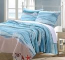 Maui Blue Ocean Waves Quilt Set