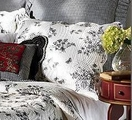 Midnight Black White Toile Sham