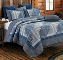 Montana Log Cabin Blue Quilt Set