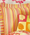 Multi Coral Striped Euro Sham
