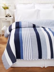 Nantucket Blue & White Stripe Quilt