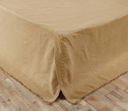 Natural Beige Burlap Fringed Tailored Bedskirt