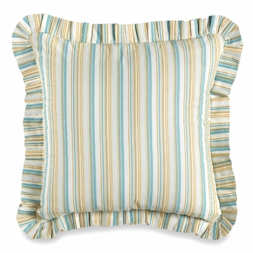 Natural Shells Aqua Striped Euro Sham