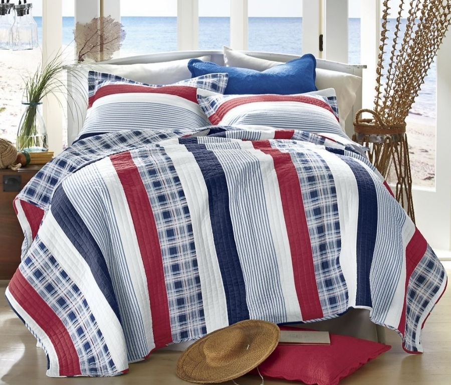 Nautical Red White Amp Blue Stripe Quilt Set