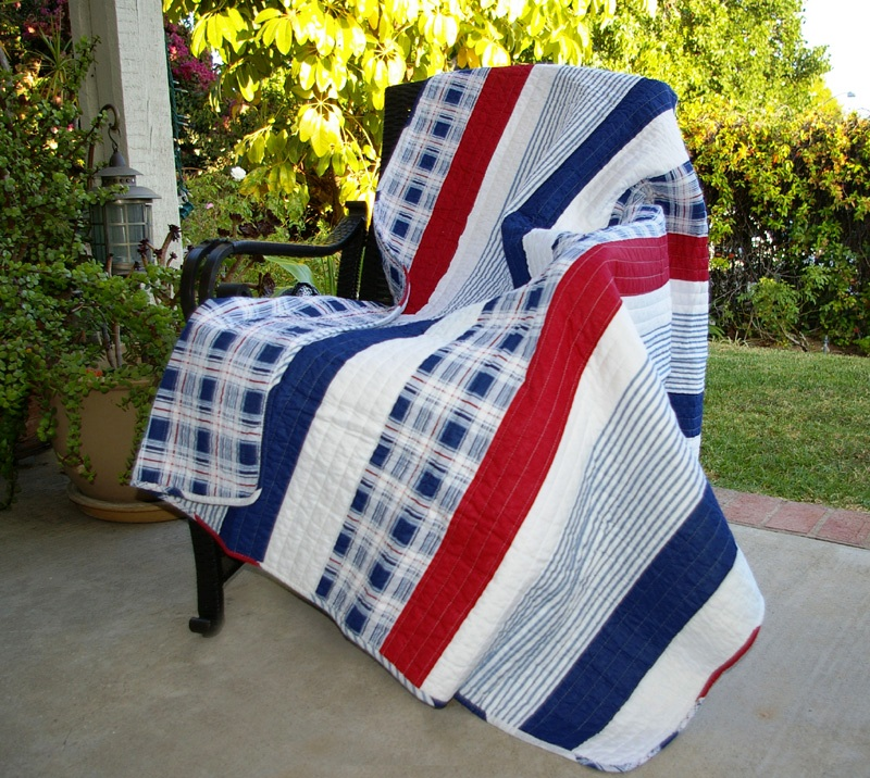 Stripe Red White & Blue Quilted Throw : red and blue quilt - Adamdwight.com