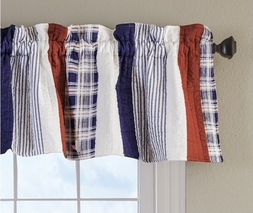 Nautical Stripe Red White Blue Valance