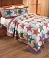 Nicholas Red White Blue Star Plaid Quilt Set