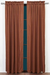 NinePatch Burgundy Red Check Plaid Panel Drapes (84x40)