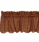 NinePatch Burgundy Red Check Plaid Scalloped Valance