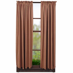 NinePatch Burgundy Red Check Plaid Panel Drapes (63x36)