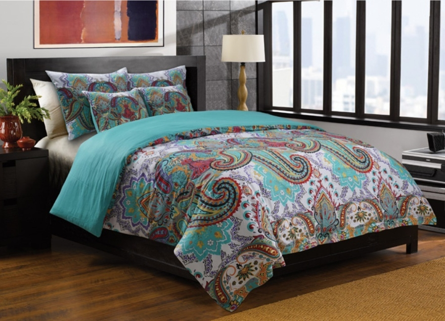 Nirvana teal moroccan boho duvet set Teal bedding sets