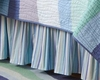 Ocean Waves Blue Stripes Bedskirt
