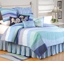 Ocean Waves Blue Beach Quilt