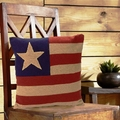 Old Glory Burlap Flag Accent Pillow