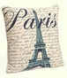 Paris Eiffel Tower French Script Pillow