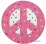 Peace Sign Plush Round Rug